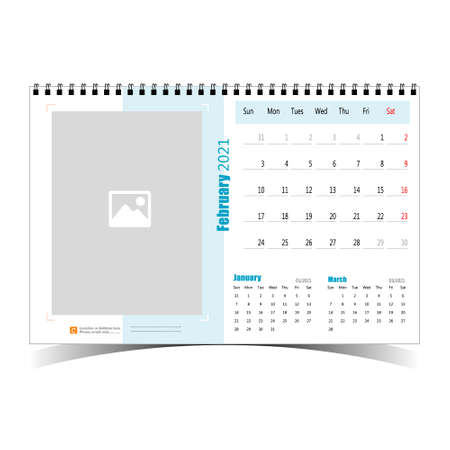 Desk Calendar 2021 Design Template 일러스트
