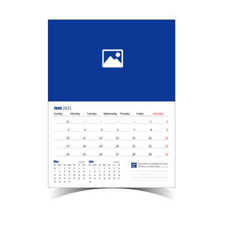 Wall Calendar Classic Design Template for Organization 矢量图像