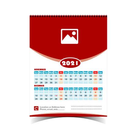 Wall Calendar Design Template for 2021
