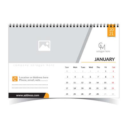 Desk Calendar Classic Design Template for Organization 矢量图像
