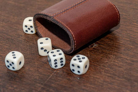 Very popular game with dice in a room or at home Stok Fotoğraf