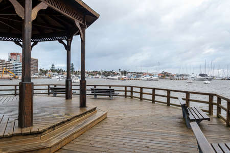 Beautiful wooden pier in Punta del Este, a must to know the peninsula Reklamní fotografie