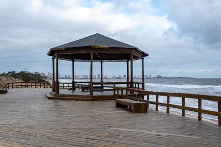 Beautiful wooden pier in Punta del Este, a must to know the peninsula Stok Fotoğraf