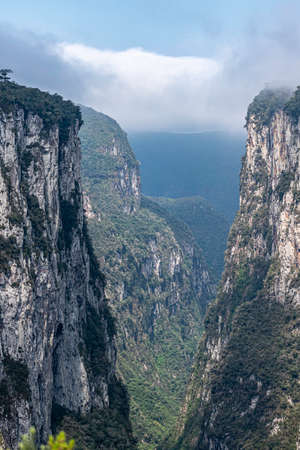 Natural and beautiful national park in Brazil with canyon and natural waterfalls in the mountains