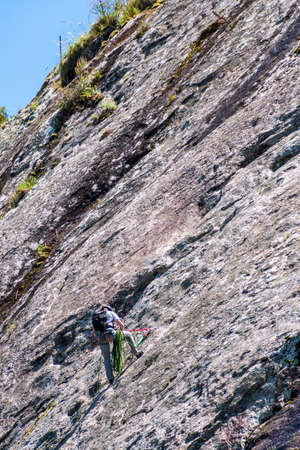 Extreme sport in the mountains of Uruguay National Park with rope climbers