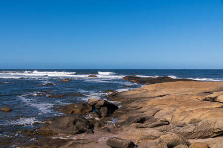 rocks on the oceanic coast of the Atlantic in Uruguay in unforgettable ride