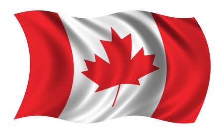 la union hace la fuerza: Bandera de Canad� ondeando en el viento