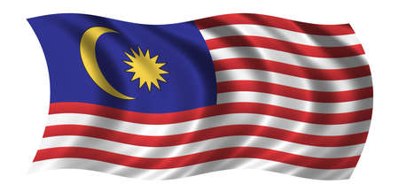 red flag: Flag of Malaysia waving in the wind