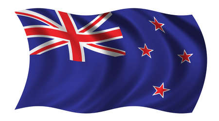 Flag of New Zealand waving in the wind photo