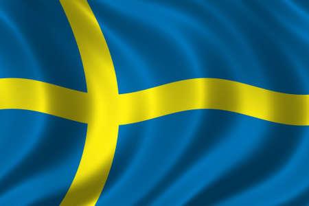 la union hace la fuerza: Bandera de Suecia  Foto de archivo