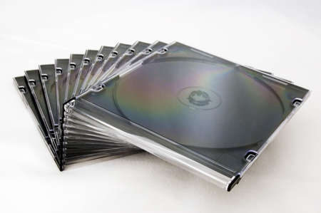 cd: a pile of cd cases Stock Photo