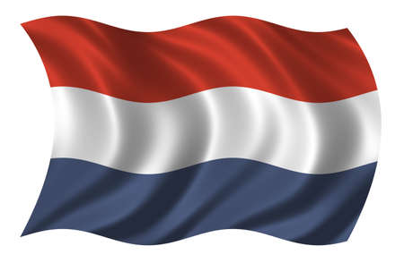 Flag of the Netherlands waving in the wind photo