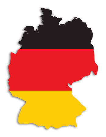 deutsch: Outline of Germany filled with german flag - includes (without drop shadow)