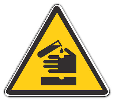 undefined: warning sign: attention acid with clipping path (drop shadow not included) over white background