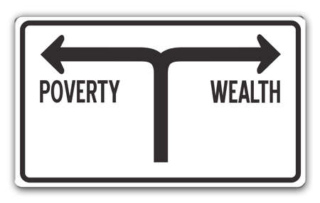 ignorant: Street sign showing the directions to wealth and poverty Stock Photo