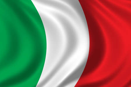 milano: Flag of Italy waving in the wind Stock Photo