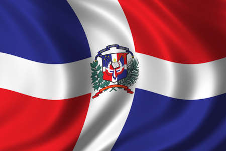 republic of dominican: Flag of the Dominican Republic waving in the wind Stock Photo
