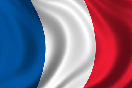 francais: Flag of France waving in the wind Stock Photo