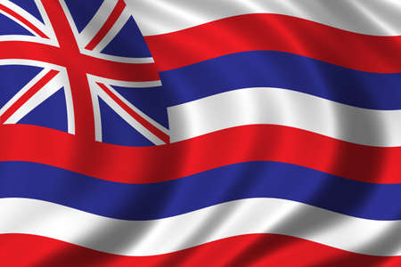 Flag of Hawaii waving in the wind Stock Photo