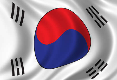 korean national: Flag of South Korea waving in the wind
