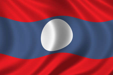 laotian: Flag of Laos waving in the wind