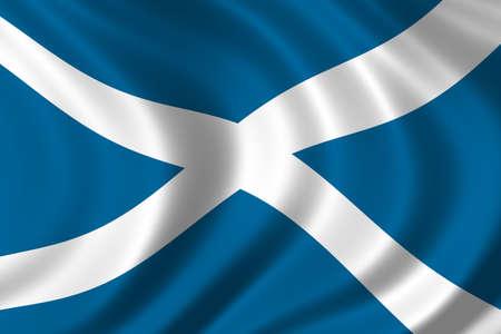 la union hace la fuerza: Bandera de Escocia ondeando en el viento  Foto de archivo