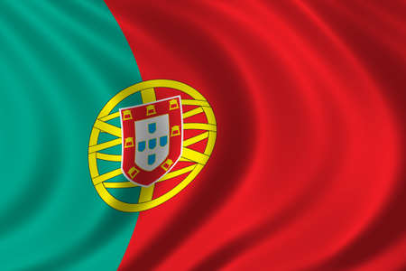 drapeau portugal: Drapeau du Portugal en agitant au vent