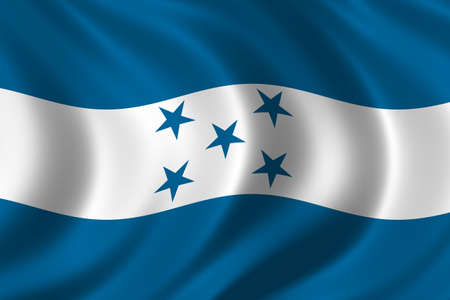 Flag of Honduras waving in the wind photo
