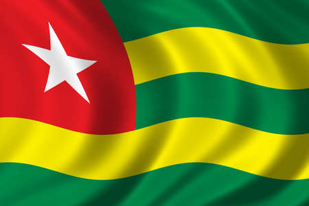 togo: Flag of Togo waving in the wind