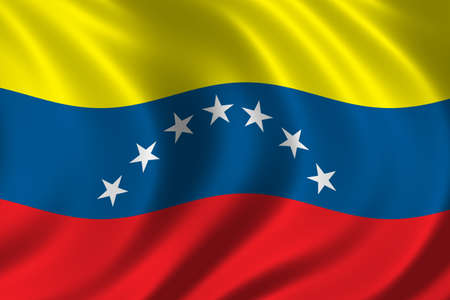 Flag of Venezuela waving in the wind photo