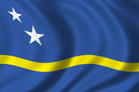 caribe: Flag of Curacao waving in the wind