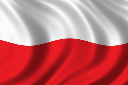 ethnical: Flag of Poland waving in the wind Stock Photo