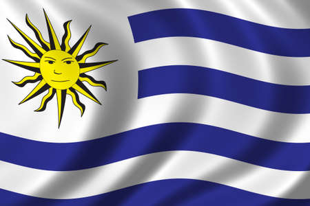 Flag of Uruguay waving in the wind Stock Photo