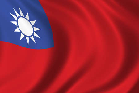 taiwanese: Flag of Taiwan waving in the wind