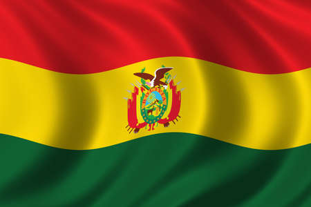Flag of Bolivia waving in the wind photo
