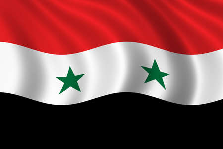 Flag of Syria waving in the wind photo