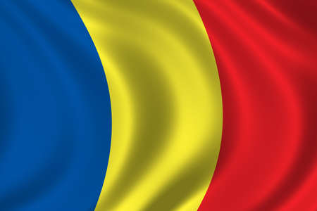 ethnical: Flag of Romania waving in the wind