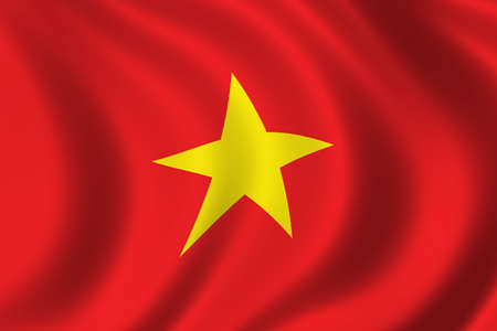 ethnical: Flag of Vietnam waving in the wind