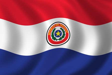 Paraguay: Drapeau du Paraguay agitant dans le vent  Banque d'images