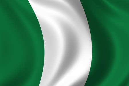 nigeria: Flag of Nigeria waving in the wind Stock Photo