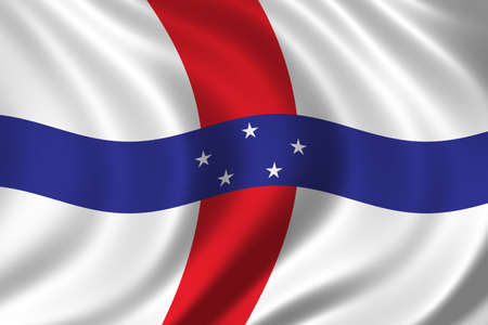 antilles: Flag of The Netherlands Antilles waving in the wind Stock Photo