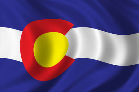 winning location: Flag of Colorado waving in the wind Stock Photo