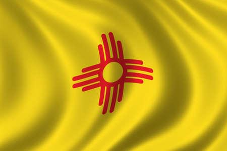Bandera de Nuevo Mexico ondeando en el viento  Foto de archivo - 291454