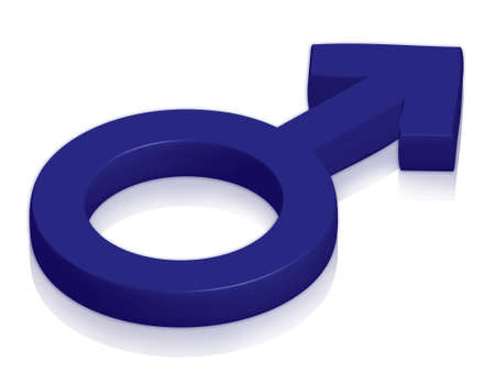 male symbol: Male symbol in blue on glossy surface