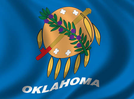 national identity: Flag of Oklahoma waving in the wind