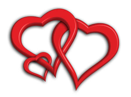 Hearts symbolising a small family - including clipping path for easy background change (drop shadows not included in clipping path) Stock Photo