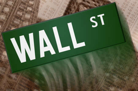 Wall Street - street sign with building and charts in the background photo