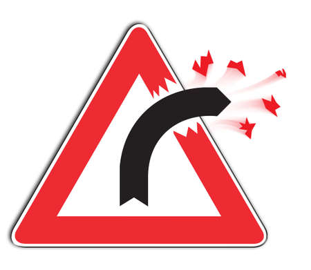 situations: Curve Sign - slightly modified to display danger or out of control situations Stock Photo