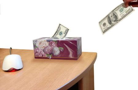 Dollar Dispenser over white background Stock Photo - 318338