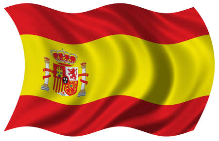 includes: Flag of Spain - waving in the wind - includes